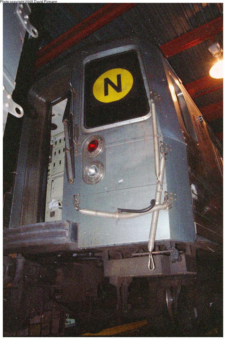 (373k, 790x1187)<br><b>Country:</b> United States<br><b>City:</b> New York<br><b>System:</b> New York City Transit<br><b>Location:</b> Coney Island Shop/Maint. & Inspection Shop<br><b>Car:</b> R-68/R-68A Series (Number Unknown)  <br><b>Photo by:</b> David Pirmann<br><b>Date:</b> 2/24/1996<br><b>Notes:</b> R68 N train on the inspection track.<br><b>Viewed (this week/total):</b> 0 / 3712