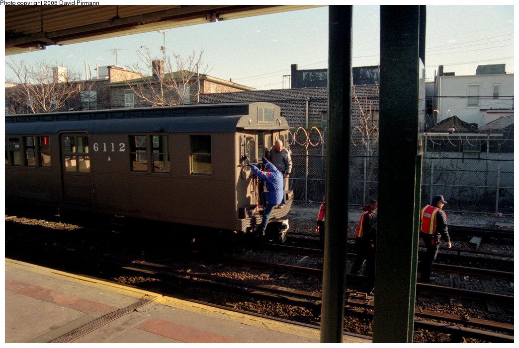 (208k, 1044x701)<br><b>Country:</b> United States<br><b>City:</b> New York<br><b>System:</b> New York City Transit<br><b>Location:</b> Rockaway Park Yard<br><b>Route:</b> Fan Trip<br><b>Car:</b> BMT D-Type Triplex 6112 <br><b>Photo by:</b> David Pirmann<br><b>Date:</b> 12/10/1995<br><b>Viewed (this week/total):</b> 0 / 2604
