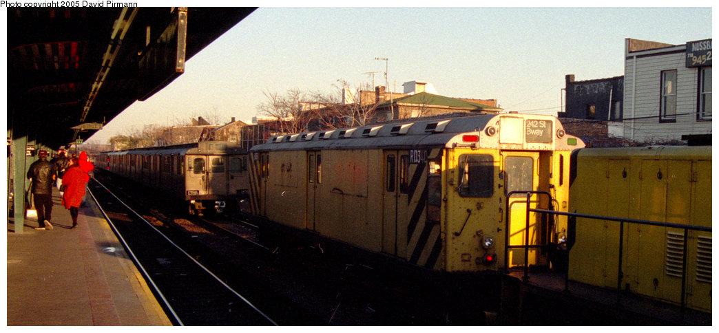 (160k, 1044x484)<br><b>Country:</b> United States<br><b>City:</b> New York<br><b>System:</b> New York City Transit<br><b>Location:</b> Rockaway Park Yard<br><b>Car:</b> R-71 Rider Car (R-17/R-21/R-22 Rebuilds)  RD340 (ex-5944)<br><b>Photo by:</b> David Pirmann<br><b>Date:</b> 12/10/1995<br><b>Viewed (this week/total):</b> 0 / 2163