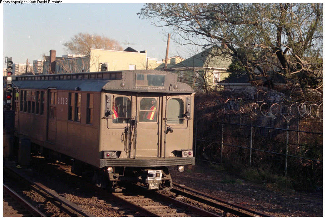 (259k, 1044x704)<br><b>Country:</b> United States<br><b>City:</b> New York<br><b>System:</b> New York City Transit<br><b>Location:</b> Rockaway Park Yard<br><b>Route:</b> Fan Trip<br><b>Car:</b> BMT D-Type Triplex 6112 <br><b>Photo by:</b> David Pirmann<br><b>Date:</b> 12/10/1995<br><b>Viewed (this week/total):</b> 0 / 2485
