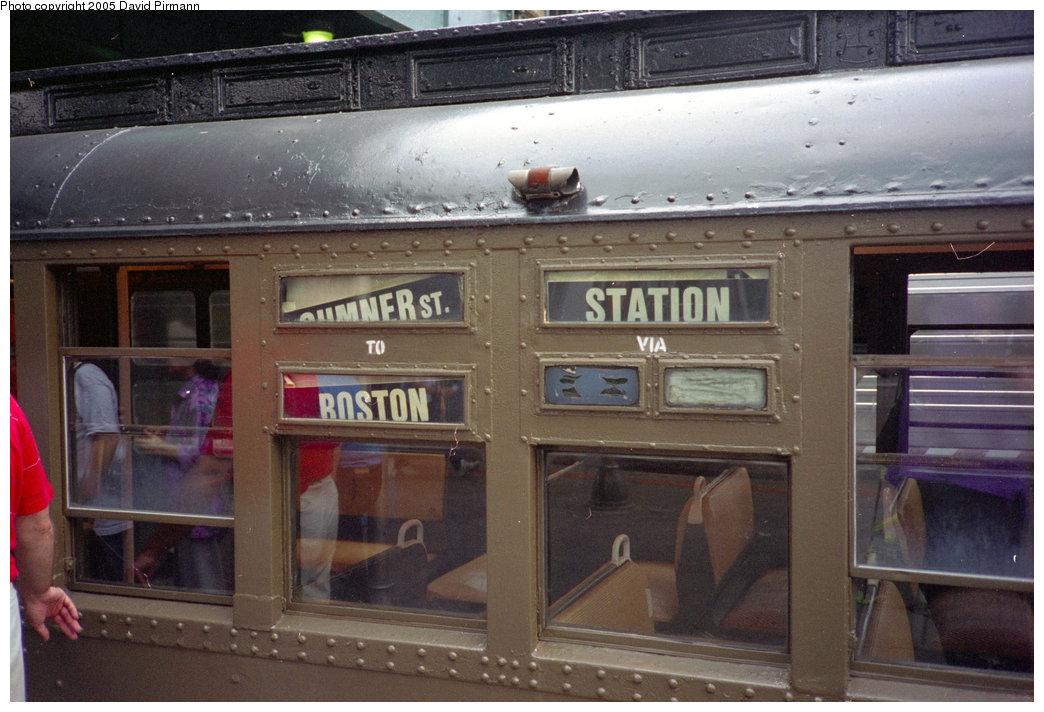 (192k, 1044x712)<br><b>Country:</b> United States<br><b>City:</b> New York<br><b>System:</b> New York City Transit<br><b>Location:</b> Coney Island/Stillwell Avenue<br><b>Route:</b> Fan Trip<br><b>Car:</b> BMT D-Type Triplex  <br><b>Photo by:</b> David Pirmann<br><b>Date:</b> 7/23/1995<br><b>Notes:</b> Note Boston destination signs used in the filming of <i>Malcolm X</i>.<br><b>Viewed (this week/total):</b> 2 / 4135