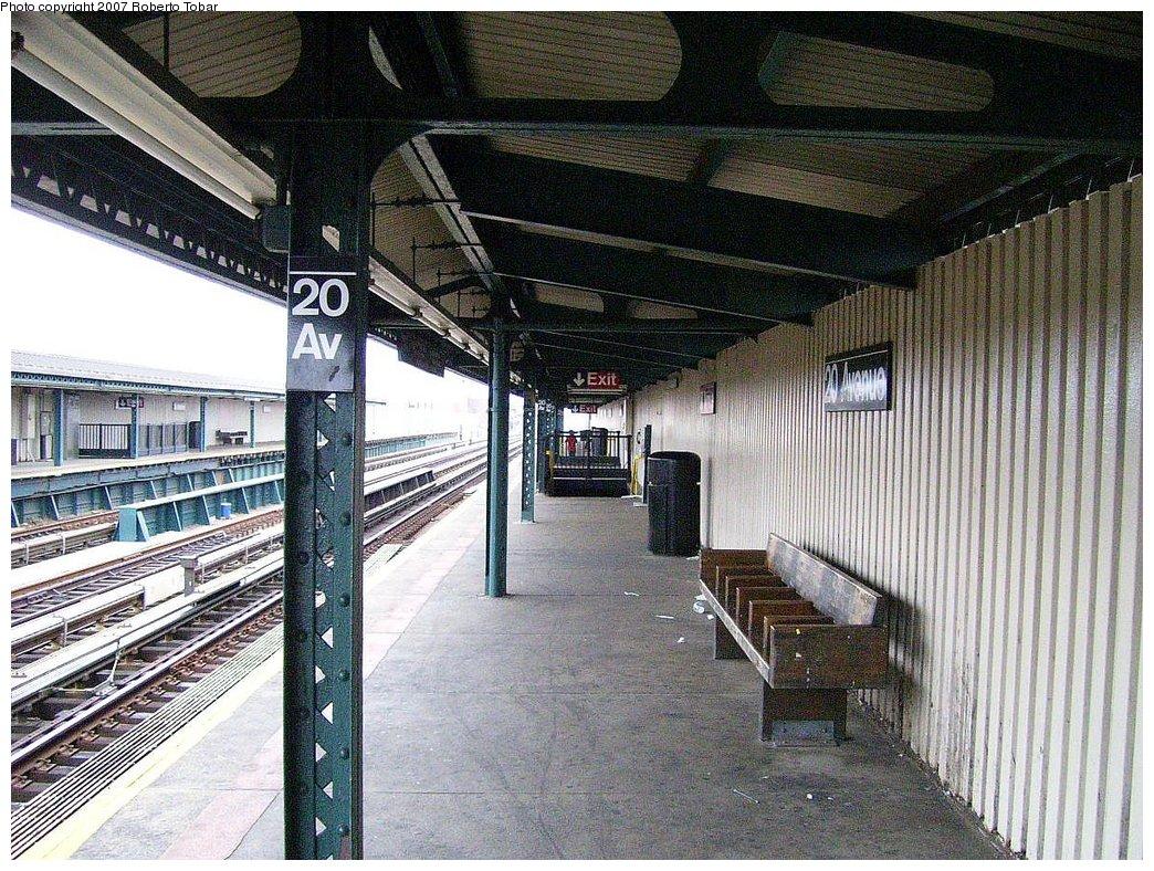 (273k, 1044x788)<br><b>Country:</b> United States<br><b>City:</b> New York<br><b>System:</b> New York City Transit<br><b>Line:</b> BMT West End Line<br><b>Location:</b> 20th Avenue <br><b>Photo by:</b> Roberto C. Tobar<br><b>Date:</b> 7/4/2007<br><b>Notes:</b> Platform view.<br><b>Viewed (this week/total):</b> 0 / 1195