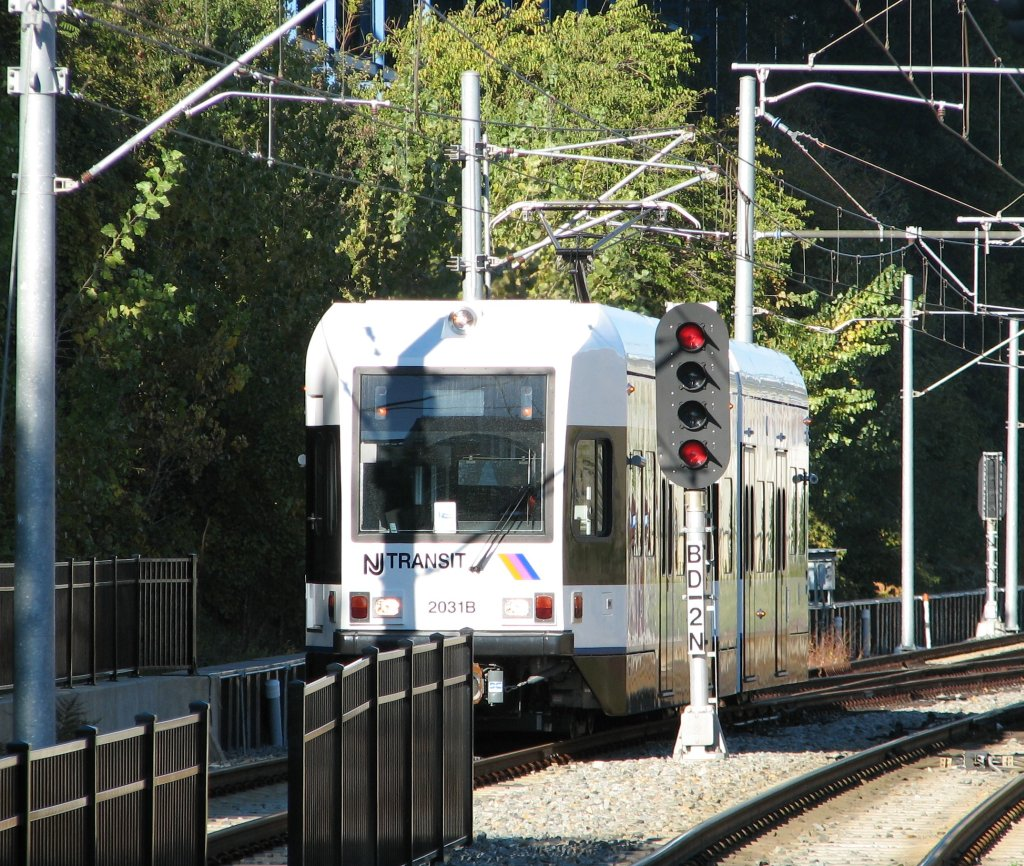 (267k, 1024x866)<br><b>Country:</b> United States<br><b>City:</b> Hoboken, NJ<br><b>System:</b> Hudson Bergen Light Rail<br><b>Location:</b> 9th Street <br><b>Car:</b> NJT-HBLR LRV (Kinki-Sharyo, 1998-99)  2031 <br><b>Photo by:</b> Brian Weinberg<br><b>Date:</b> 10/30/2005<br><b>Viewed (this week/total):</b> 3 / 2469