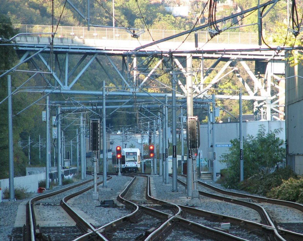 (260k, 1024x813)<br><b>Country:</b> United States<br><b>City:</b> Hoboken, NJ<br><b>System:</b> Hudson Bergen Light Rail<br><b>Location:</b> Three Roads to Lincoln Harbor <br><b>Car:</b> NJT-HBLR LRV (Kinki-Sharyo, 1998-99)  2031 <br><b>Photo by:</b> Brian Weinberg<br><b>Date:</b> 10/30/2005<br><b>Notes:</b> NJT HBLR LRV 2031B @ the Three Roads section of track between Ninth St. and Lincoln Harbor.<br><b>Viewed (this week/total):</b> 2 / 2447