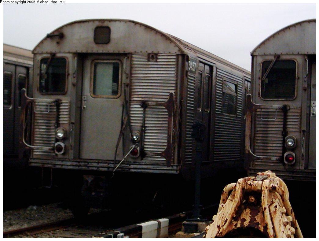 (151k, 1044x788)<br><b>Country:</b> United States<br><b>City:</b> New York<br><b>System:</b> New York City Transit<br><b>Location:</b> Coney Island Yard<br><b>Car:</b> R-32 (Budd, 1964)  3457 <br><b>Photo by:</b> Michael Hodurski<br><b>Date:</b> 3/2005<br><b>Viewed (this week/total):</b> 0 / 3715