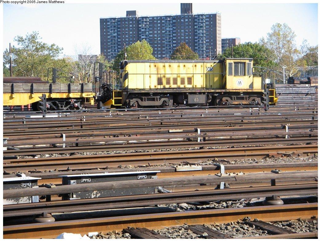 (249k, 1044x788)<br><b>Country:</b> United States<br><b>City:</b> New York<br><b>System:</b> New York City Transit<br><b>Location:</b> Westchester Yard<br><b>Car:</b> R-47 Locomotive  65 <br><b>Photo by:</b> James Matthews<br><b>Date:</b> 11/2/2005<br><b>Viewed (this week/total):</b> 0 / 2215
