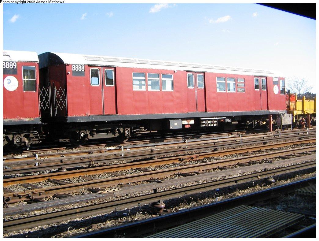 (194k, 1044x788)<br><b>Country:</b> United States<br><b>City:</b> New York<br><b>System:</b> New York City Transit<br><b>Location:</b> Westchester Yard<br><b>Car:</b> R-33 Main Line (St. Louis, 1962-63) 8888 <br><b>Photo by:</b> James Matthews<br><b>Date:</b> 11/2/2005<br><b>Viewed (this week/total):</b> 0 / 3080