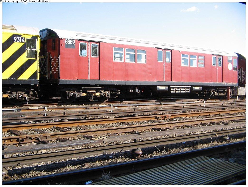 (203k, 1044x788)<br><b>Country:</b> United States<br><b>City:</b> New York<br><b>System:</b> New York City Transit<br><b>Location:</b> Westchester Yard<br><b>Car:</b> R-33 Main Line (St. Louis, 1962-63) 8889 <br><b>Photo by:</b> James Matthews<br><b>Date:</b> 11/2/2005<br><b>Viewed (this week/total):</b> 0 / 2743