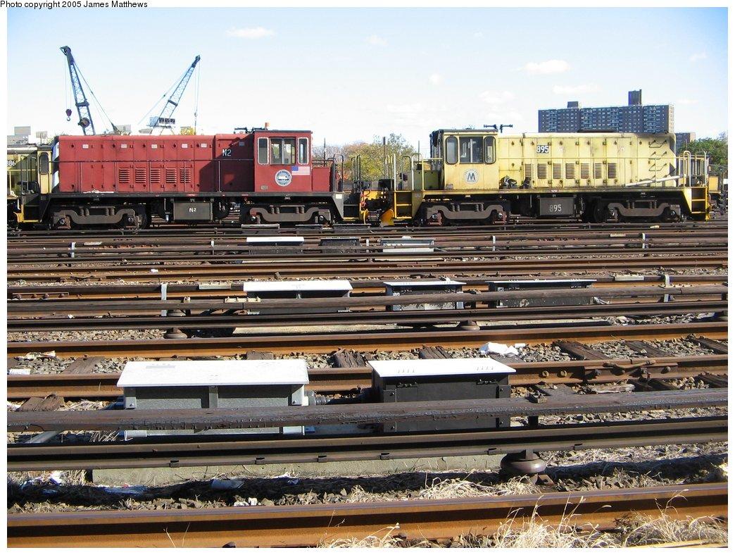(220k, 1044x788)<br><b>Country:</b> United States<br><b>City:</b> New York<br><b>System:</b> New York City Transit<br><b>Location:</b> Westchester Yard<br><b>Car:</b> R-47 (SBK) Locomotive  N2 <br><b>Photo by:</b> James Matthews<br><b>Date:</b> 11/2/2005<br><b>Notes:</b> With R77 locomotive #895<br><b>Viewed (this week/total):</b> 2 / 2148