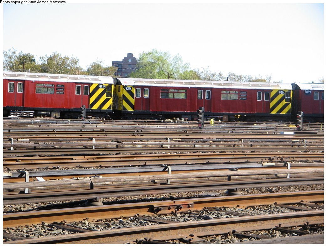 (207k, 1044x788)<br><b>Country:</b> United States<br><b>City:</b> New York<br><b>System:</b> New York City Transit<br><b>Location:</b> Westchester Yard<br><b>Car:</b> R-33 World's Fair (St. Louis, 1963-64) 9314 <br><b>Photo by:</b> James Matthews<br><b>Date:</b> 11/2/2005<br><b>Viewed (this week/total):</b> 0 / 2887