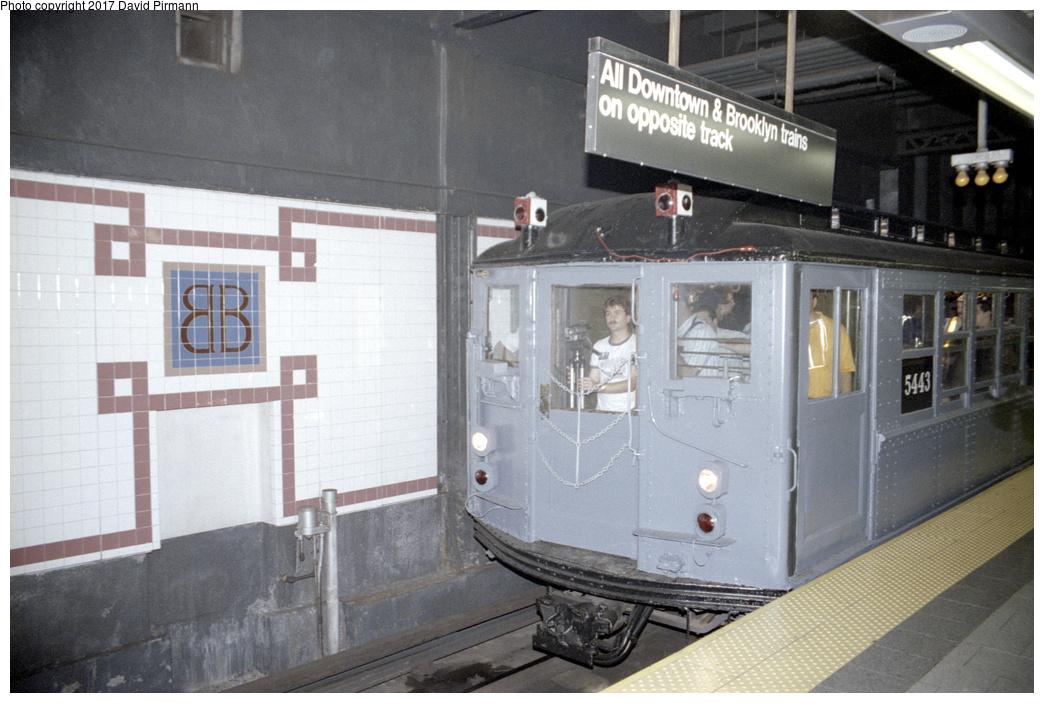 (331k, 1044x703)<br><b>Country:</b> United States<br><b>City:</b> New York<br><b>System:</b> New York City Transit<br><b>Line:</b> IRT East Side Line<br><b>Location:</b> Brooklyn Bridge/City Hall <br><b>Route:</b> Fan Trip<br><b>Car:</b> Low-V (Museum Train) 5443 <br><b>Photo by:</b> David Pirmann<br><b>Date:</b> 9/13/1998<br><b>Viewed (this week/total):</b> 2 / 3027