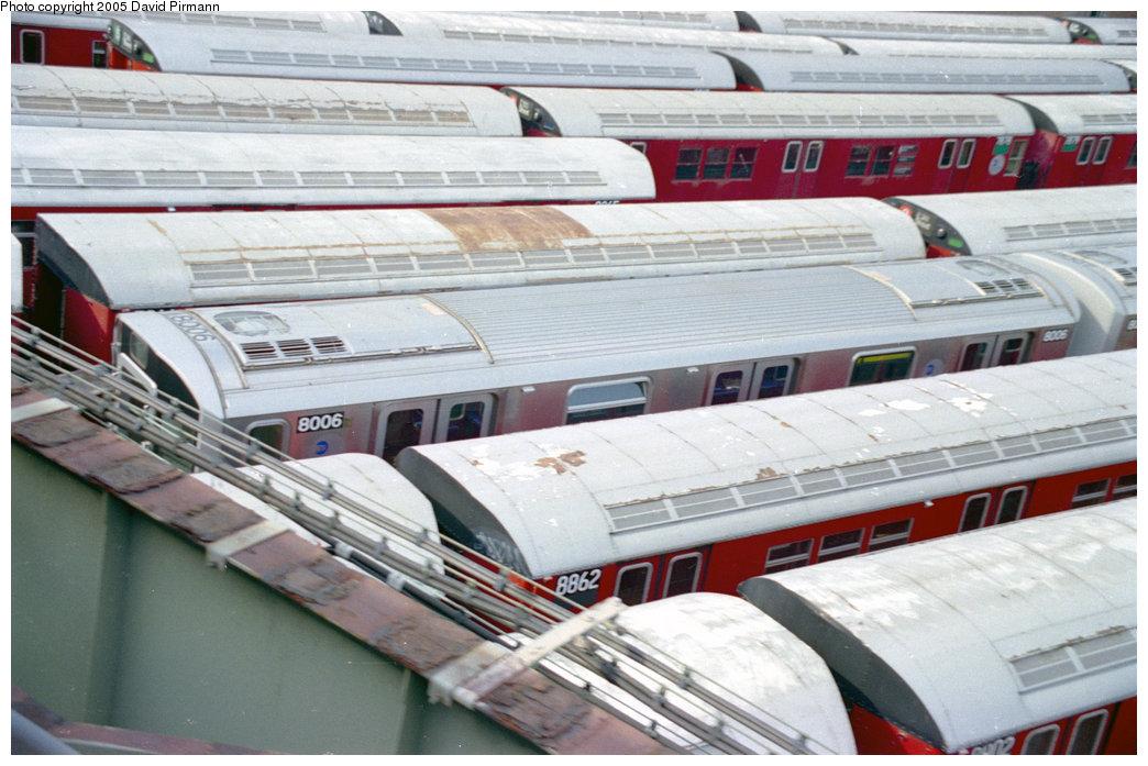 (195k, 1044x697)<br><b>Country:</b> United States<br><b>City:</b> New York<br><b>System:</b> New York City Transit<br><b>Location:</b> 239th Street Yard<br><b>Car:</b> R-110A (Kawasaki, 1992) 8006 <br><b>Photo by:</b> David Pirmann<br><b>Date:</b> 9/13/1998<br><b>Notes:</b> With R33 8862.<br><b>Viewed (this week/total):</b> 6 / 6982