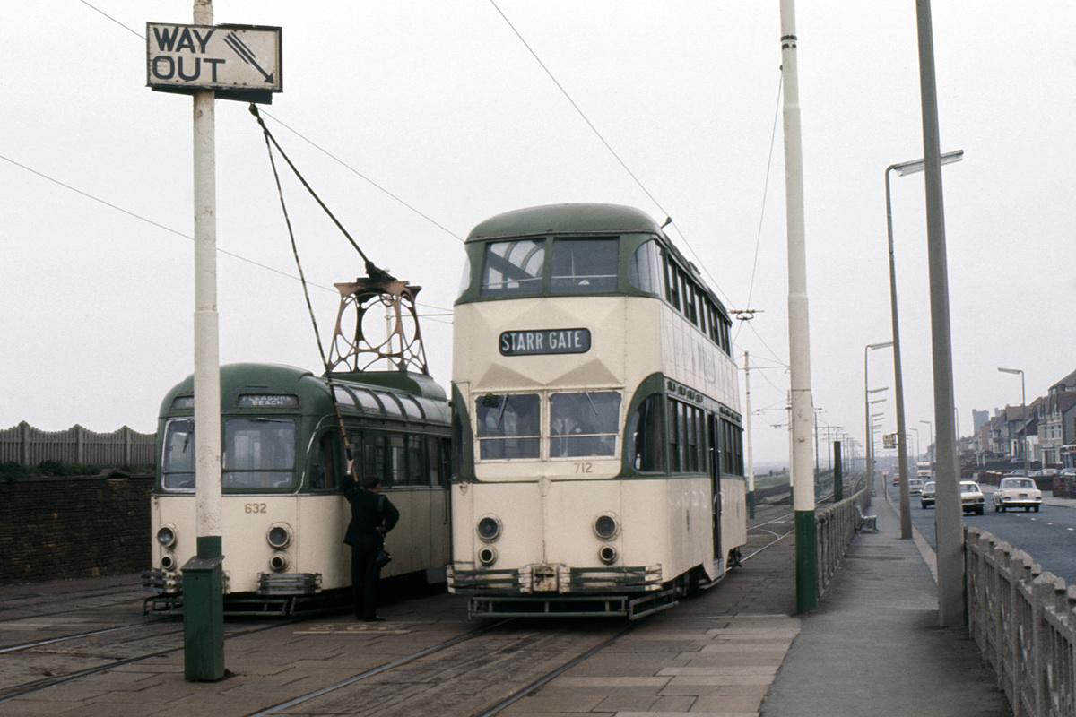 (192k, 1024x691)<br><b>Country:</b> United Kingdom<br><b>City:</b> Blackpool<br><b>System:</b> Blackpool Transport<br><b>Car:</b> Blackpool Brush (Brush, 1937)  632/712 <br><b>Collection of:</b> David Pirmann/Frank Hicks<br><b>Notes:</b> Photo taken between 1968 and 1971.<br><b>Viewed (this week/total):</b> 0 / 1657