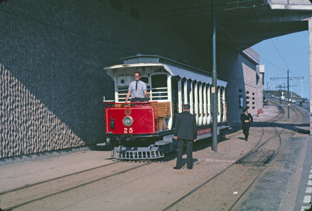 (243k, 1024x693)<br><b>Country:</b> Isle of Man (U.K.)<br><b>System:</b> Manx Electric Railway<br><b>Location:</b> North of Derby Castle nr. Aquadrome/depot entrance <br><b>Car:</b>  25 <br><b>Collection of:</b> David Pirmann/Frank Hicks<br><b>Notes:</b> 1898 G.F.Milnes-built paddlebox open crossbench car 25. Photo taken approx 1970.<br><b>Viewed (this week/total):</b> 2 / 1459