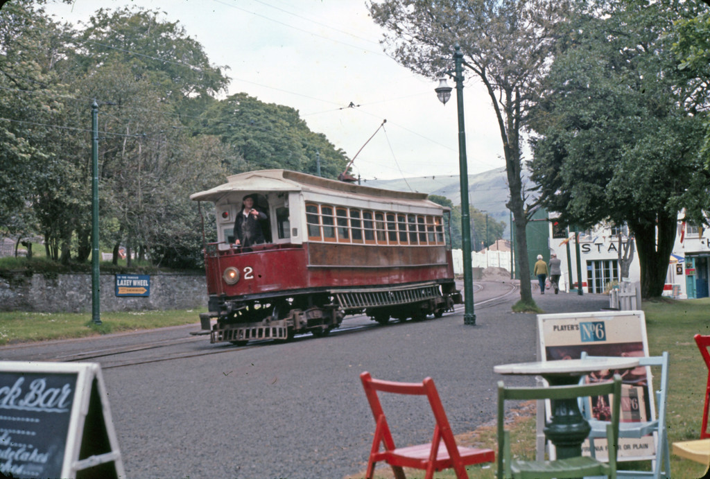 (271k, 1024x691)<br><b>Country:</b> Isle of Man (U.K.)<br><b>System:</b> Manx Electric Railway<br><b>Location:</b> Laxey <br><b>Car:</b>  2 <br><b>Collection of:</b> David Pirmann/Frank Hicks<br><b>Notes:</b> 1893 G.F.Milnes-built saloon car 2. Photo taken approx 1970.<br><b>Viewed (this week/total):</b> 2 / 1511