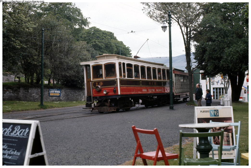 (216k, 1044x698)<br><b>Country:</b> Isle of Man (U.K.)<br><b>System:</b> Manx Electric Railway<br><b>Location:</b> Laxey <br><b>Car:</b>  19 <br><b>Collection of:</b> David Pirmann/Frank Hicks<br><b>Notes:</b> 1899 G.F.Milnes-built winter saloon 19. Photo taken approx 1970.<br><b>Viewed (this week/total):</b> 0 / 1368