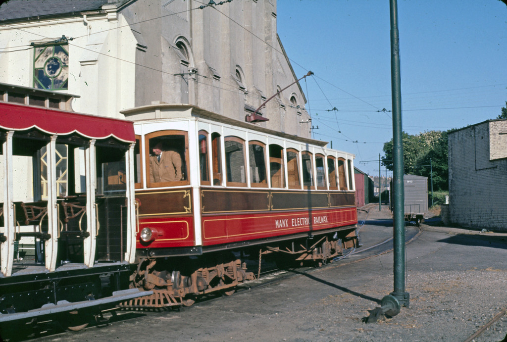 (250k, 1024x691)<br><b>Country:</b> Isle of Man (U.K.)<br><b>System:</b> Manx Electric Railway<br><b>Location:</b> Ramsey Plaza depot <br><b>Collection of:</b> David Pirmann/Frank Hicks<br><b>Notes:</b> Photo taken approx 1970.<br><b>Viewed (this week/total):</b> 1 / 1510
