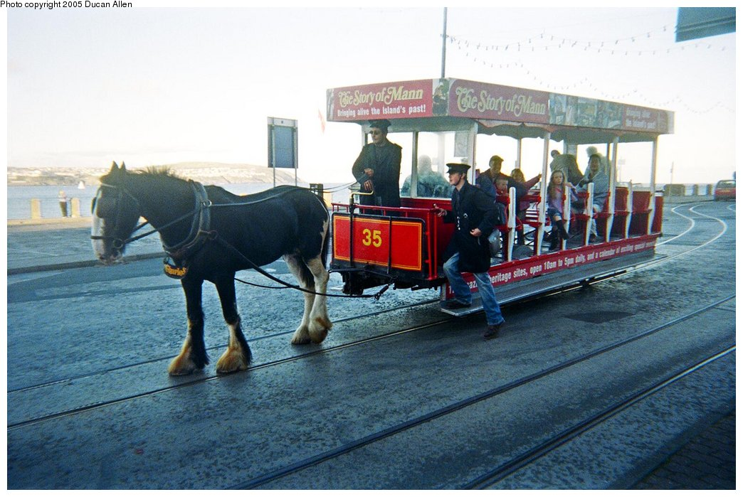 (163k, 1044x699)<br><b>Country:</b> Isle of Man (U.K.)<br><b>System:</b> Douglas Promenades Horse Tramway<br><b>Location:</b> Douglas Promenade<br><b>Car:</b>  35 <br><b>Photo by:</b> Duncan Allen<br><b>Date:</b> 9/25/2005<br><b>Notes:</b> Northbound horse car departing terminal<br><b>Viewed (this week/total):</b> 2 / 1775