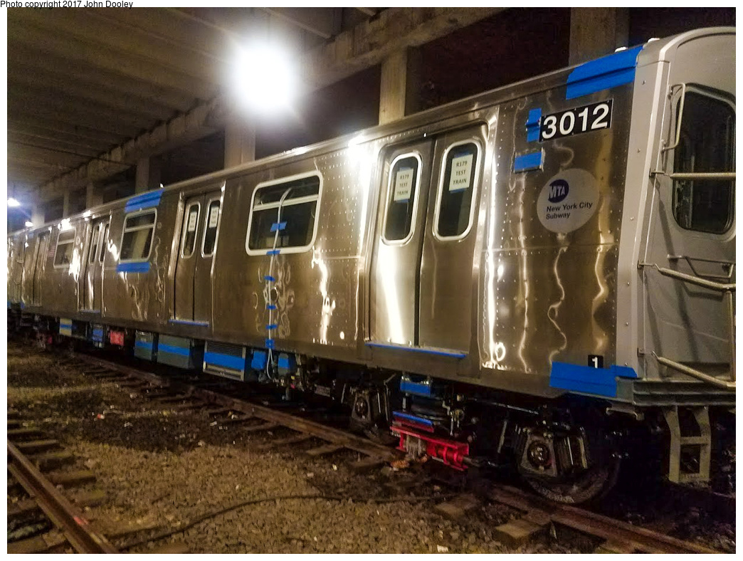 (364k, 1044x788)<br><b>Country:</b> United States<br><b>City:</b> New York<br><b>System:</b> New York City Transit<br><b>Location:</b> Pitkin Yard/Shops<br><b>Car:</b> R-179 (Bombardier, 2016-) 3012 <br><b>Photo by:</b> John Dooley<br><b>Date:</b> 4/28/2017<br><b>Notes:</b> R-179 test train at Pitkin Yard.<br><b>Viewed (this week/total):</b> 0 / 949