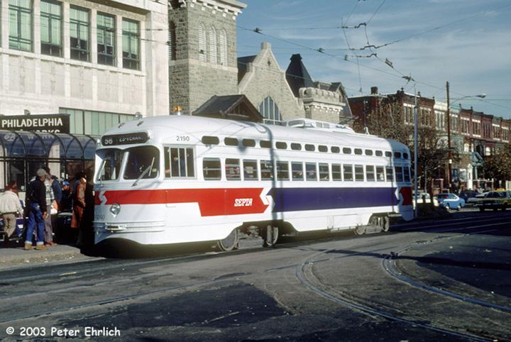 (160k, 720x482)<br><b>Country:</b> United States<br><b>City:</b> Philadelphia, PA<br><b>System:</b> SEPTA (or Predecessor)<br><b>Line:</b> Rt. 56-Erie/Torresdale <br><b>Location:</b> Erie/Broad/Germantown <br><b>Route:</b> Rt 56<br><b>Car:</b> PTC/SEPTA Postwar All-electric PCC (St.Louis, 1948)  2190 <br><b>Photo by:</b> Peter Ehrlich<br><b>Date:</b> 11/30/1984<br><b>Notes:</b> Erie/Germantown Aveune, Route 56 westbound.<br><b>Viewed (this week/total):</b> 0 / 2527