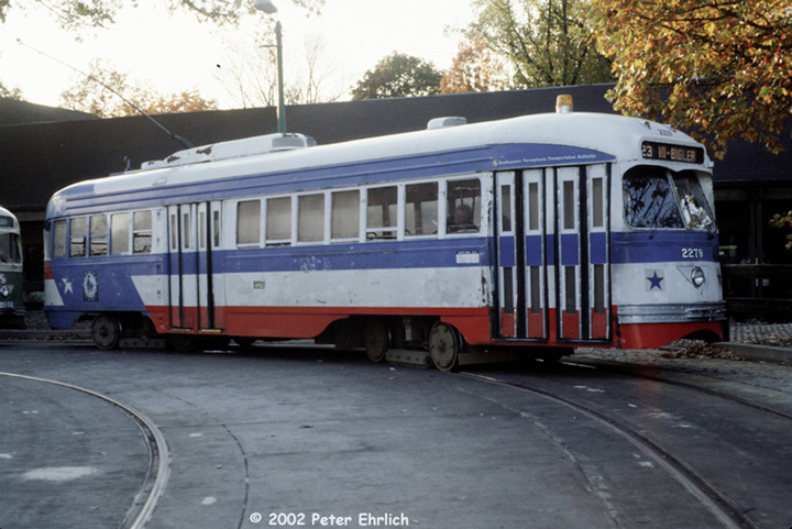 (147k, 720x481)<br><b>Country:</b> United States<br><b>City:</b> Philadelphia, PA<br><b>System:</b> SEPTA (or Predecessor)<br><b>Line:</b> Rt. 23-Germantown <br><b>Location:</b> Bethlehem Pike/Chestnut Hill Loop <br><b>Car:</b> PTC/SEPTA ex-Kansas City PCC (St.Louis, 1946)  2279 <br><b>Photo by:</b> Peter Ehrlich<br><b>Date:</b> 10/26/1982<br><b>Notes:</b> Germantown/Bethlehem Pike terminal, Route 23.<br><b>Viewed (this week/total):</b> 1 / 1957