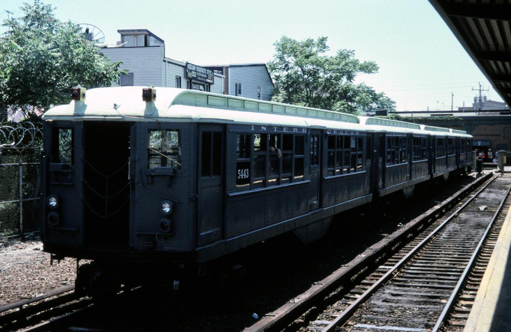 (265k, 1024x665)<br><b>Country:</b> United States<br><b>City:</b> New York<br><b>System:</b> New York City Transit<br><b>Line:</b> IND Rockaway<br><b>Location:</b> Rockaway Park/Beach 116th Street <br><b>Route:</b> Fan Trip<br><b>Car:</b> Low-V (Museum Train) 5443 <br><b>Photo by:</b> Chris Leverett<br><b>Date:</b> 7/6/1996<br><b>Viewed (this week/total):</b> 0 / 2110