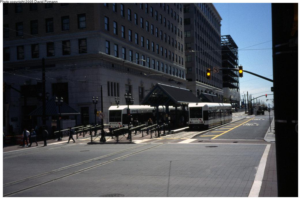 (158k, 1044x695)<br><b>Country:</b> United States<br><b>City:</b> Jersey City, NJ<br><b>System:</b> Hudson Bergen Light Rail<br><b>Location:</b> Exchange Place <br><b>Car:</b> NJT-HBLR LRV (Kinki-Sharyo, 1998-99)  2018/2026 <br><b>Photo by:</b> David Pirmann<br><b>Date:</b> 4/29/2000<br><b>Viewed (this week/total):</b> 1 / 1722