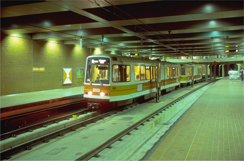 (220k, 1024x677)<br><b>Country:</b> United States<br><b>City:</b> San Francisco/Bay Area, CA<br><b>System:</b> SF MUNI<br><b>Line:</b> MUNI Metro (Metro Tunnel)<br><b>Location:</b> <b><u>Castro</u></b><br><b>Route:</b> K-Ingleside<br><b>Car:</b> MUNI Standard LRV (Boeing-Vertol, 1976-78) 1253 <br><b>Photo by:</b> Doug Grotjahn<br><b>Collection of:</b> Joe Testagrose<br><b>Date:</b> 7/1/1980<br><b>Viewed (this week/total):</b> 0 / 2670