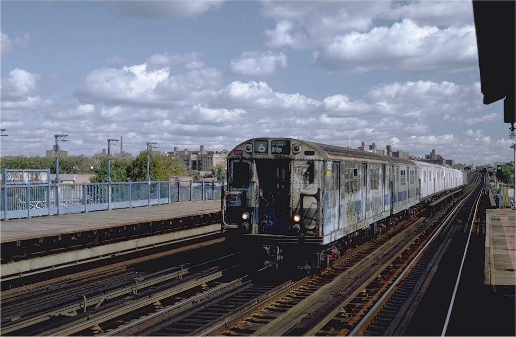 (197k, 1024x670)<br><b>Country:</b> United States<br><b>City:</b> New York<br><b>System:</b> New York City Transit<br><b>Line:</b> IRT Pelham Line<br><b>Location:</b> Morrison/Soundview Aves. <br><b>Route:</b> 6<br><b>Car:</b> R-26 (American Car & Foundry, 1959-60) 7808 <br><b>Photo by:</b> Steve Zabel<br><b>Collection of:</b> Joe Testagrose<br><b>Date:</b> 10/16/1982<br><b>Viewed (this week/total):</b> 6 / 3685
