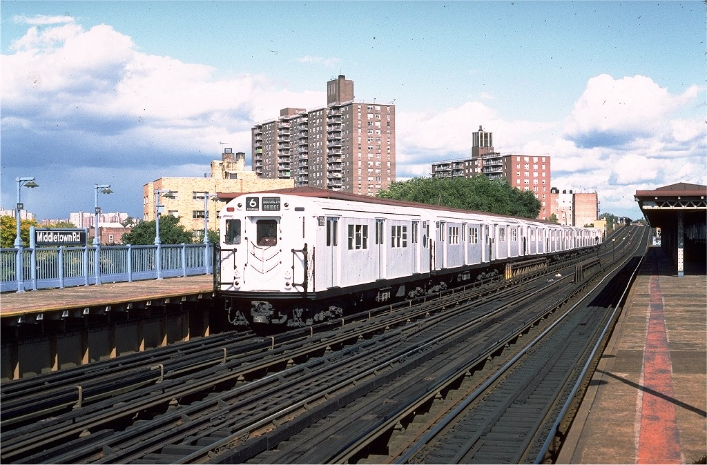 (262k, 1024x674)<br><b>Country:</b> United States<br><b>City:</b> New York<br><b>System:</b> New York City Transit<br><b>Line:</b> IRT Pelham Line<br><b>Location:</b> Middletown Road <br><b>Route:</b> 6<br><b>Car:</b> R-28 (American Car & Foundry, 1960-61) 7896 <br><b>Photo by:</b> Steve Zabel<br><b>Collection of:</b> Joe Testagrose<br><b>Date:</b> 10/16/1982<br><b>Viewed (this week/total):</b> 0 / 4169