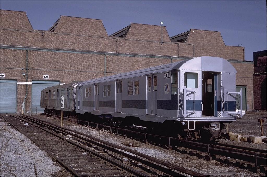 (271k, 1024x678)<br><b>Country:</b> United States<br><b>City:</b> New York<br><b>System:</b> New York City Transit<br><b>Location:</b> Coney Island Yard<br><b>Car:</b> R-27 (St. Louis, 1960)  8089 <br><b>Photo by:</b> Steve Zabel<br><b>Collection of:</b> Joe Testagrose<br><b>Date:</b> 2/12/1971<br><b>Viewed (this week/total):</b> 2 / 2929