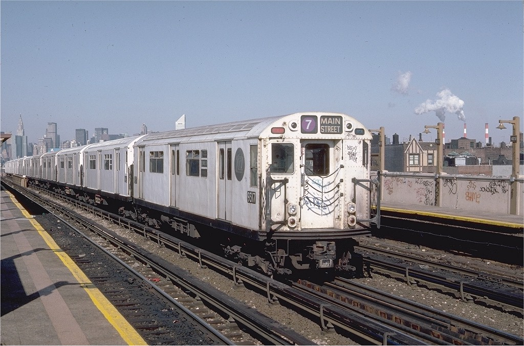 (225k, 1024x677)<br><b>Country:</b> United States<br><b>City:</b> New York<br><b>System:</b> New York City Transit<br><b>Line:</b> IRT Flushing Line<br><b>Location:</b> 46th Street/Bliss Street <br><b>Route:</b> 7<br><b>Car:</b> R-33 World's Fair (St. Louis, 1963-64) 9317 <br><b>Photo by:</b> Steve Zabel<br><b>Collection of:</b> Joe Testagrose<br><b>Date:</b> 3/24/1984<br><b>Viewed (this week/total):</b> 4 / 3931