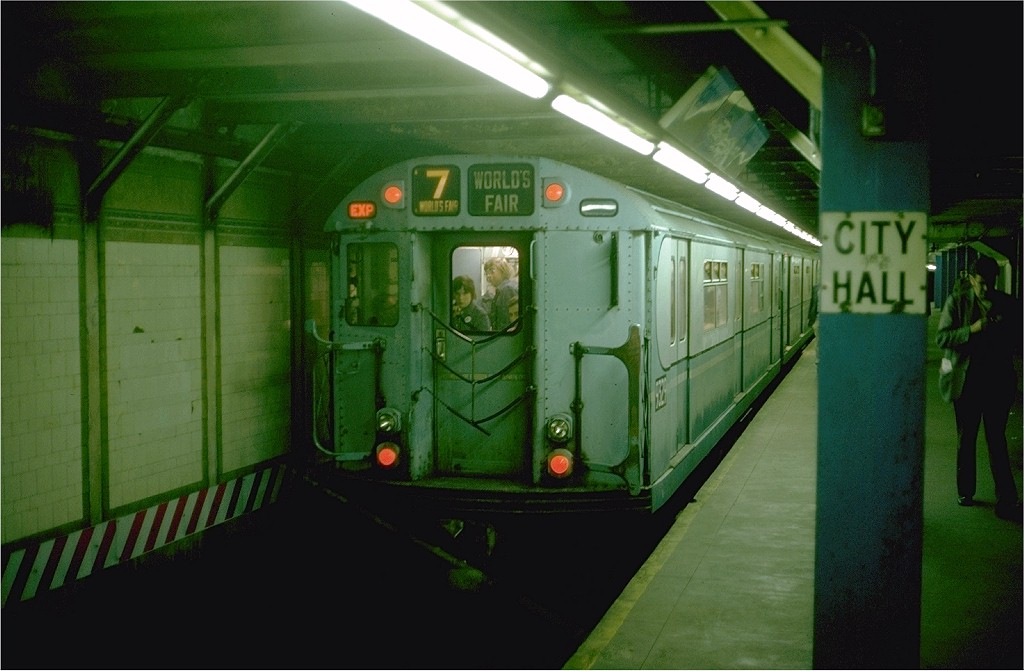 (154k, 1024x671)<br><b>Country:</b> United States<br><b>City:</b> New York<br><b>System:</b> New York City Transit<br><b>Line:</b> BMT Broadway Line<br><b>Location:</b> City Hall <br><b>Route:</b> Fan Trip<br><b>Car:</b> R-33 World's Fair (St. Louis, 1963-64) 9329 <br><b>Photo by:</b> Steve Zabel<br><b>Collection of:</b> Joe Testagrose<br><b>Date:</b> 10/27/1974<br><b>Viewed (this week/total):</b> 10 / 4153