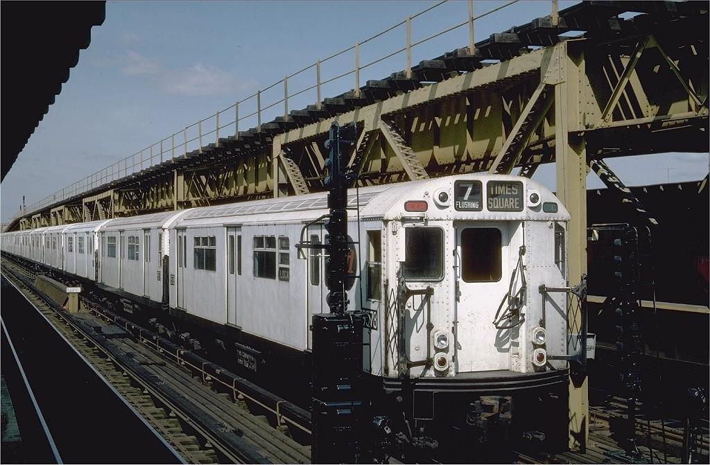 (218k, 1024x671)<br><b>Country:</b> United States<br><b>City:</b> New York<br><b>System:</b> New York City Transit<br><b>Line:</b> IRT Flushing Line<br><b>Location:</b> 111th Street <br><b>Route:</b> 7<br><b>Car:</b> R-36 World's Fair (St. Louis, 1963-64) 9578 <br><b>Photo by:</b> Steve Zabel<br><b>Collection of:</b> Joe Testagrose<br><b>Date:</b> 6/14/1984<br><b>Viewed (this week/total):</b> 0 / 5011