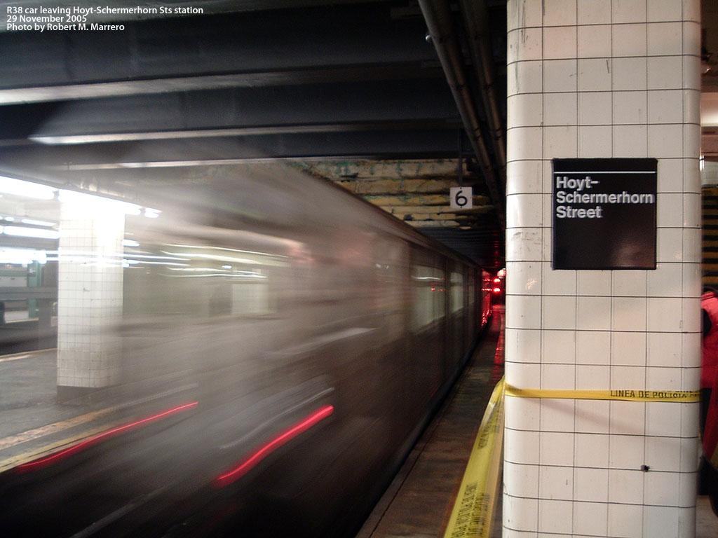 (161k, 1024x768)<br><b>Country:</b> United States<br><b>City:</b> New York<br><b>System:</b> New York City Transit<br><b>Line:</b> IND Fulton Street Line<br><b>Location:</b> Hoyt-Schermerhorn Street <br><b>Car:</b> R-38 (St. Louis, 1966-1967)   <br><b>Photo by:</b> Robert Marrero<br><b>Date:</b> 11/29/2005<br><b>Notes:</b> R38 train leaving Hoyt-Schermerhorn.<br><b>Viewed (this week/total):</b> 0 / 4412