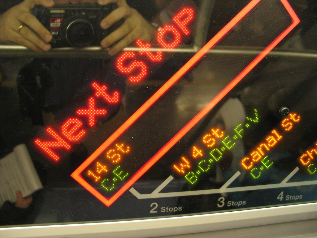(132k, 1024x768)<br><b>Country:</b> United States<br><b>City:</b> New York<br><b>System:</b> New York City Transit<br><b>Line:</b> IND Fulton Street Line<br><b>Location:</b> Hoyt-Schermerhorn Street <br><b>Car:</b> R-160B (Kawasaki, 2005-2008)  8713 <br><b>Photo by:</b> Brian Weinberg<br><b>Date:</b> 11/29/2005<br><b>Notes:</b> The FIND (Flexible Information and Notice Display) close up of the LED strip map.<br><b>Viewed (this week/total):</b> 0 / 5416