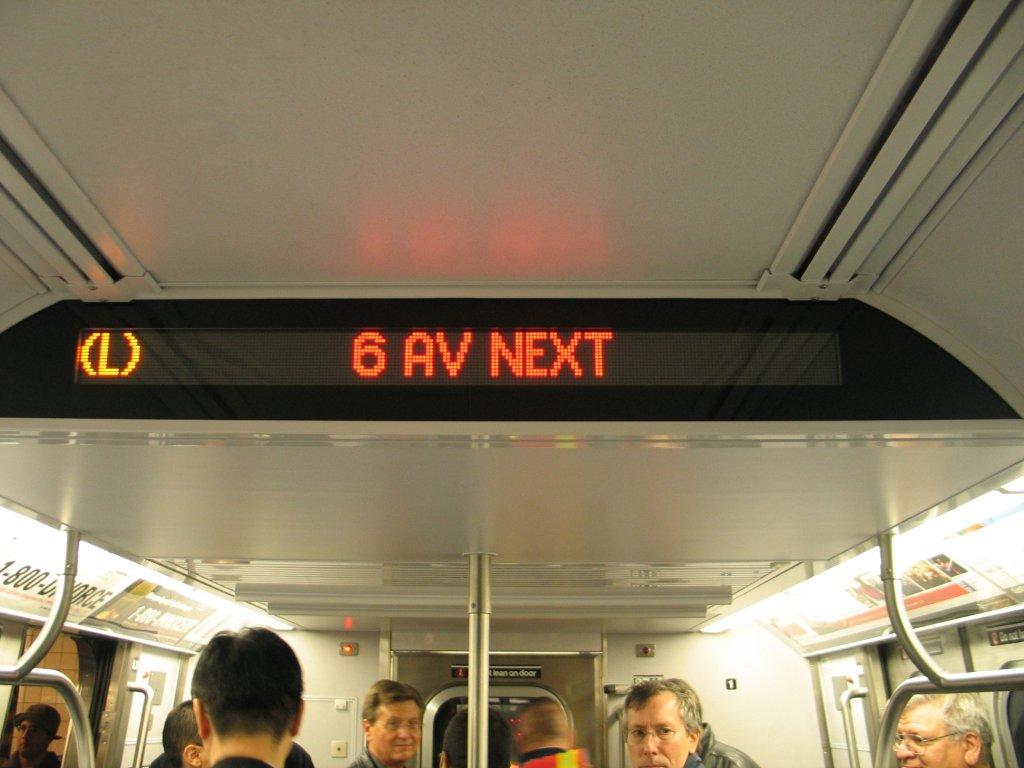 (106k, 1024x768)<br><b>Country:</b> United States<br><b>City:</b> New York<br><b>System:</b> New York City Transit<br><b>Line:</b> IND Fulton Street Line<br><b>Location:</b> Hoyt-Schermerhorn Street <br><b>Car:</b> R-160B (Kawasaki, 2005-2008)  8713 <br><b>Photo by:</b> Brian Weinberg<br><b>Date:</b> 11/29/2005<br><b>Notes:</b> The LED route and station,annoumcment panel in the R160B, similar to that already present on the R-142, R-142A, and R-143 subway cars.<br><b>Viewed (this week/total):</b> 0 / 5663
