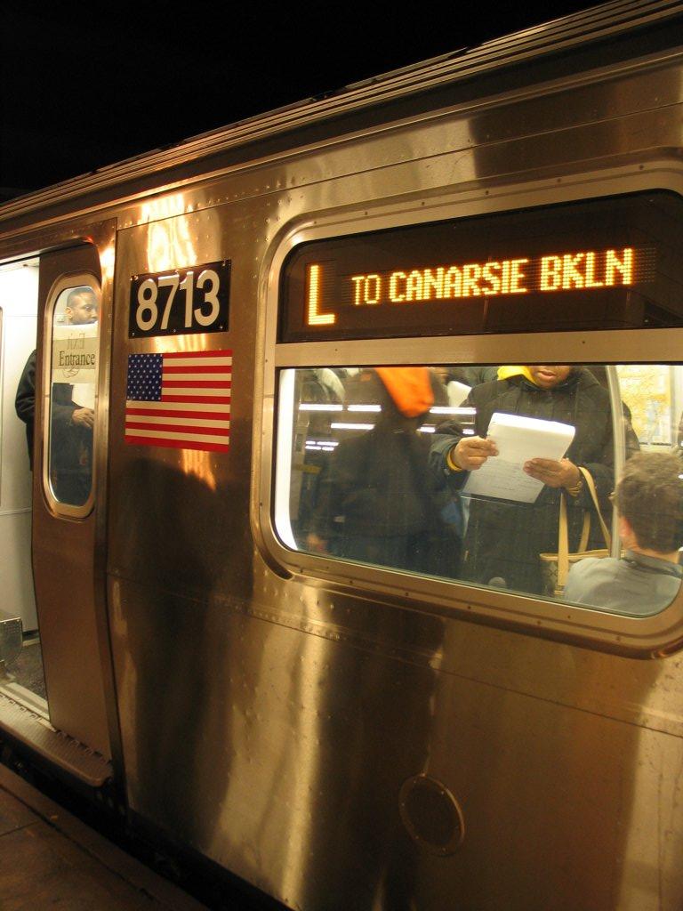 (127k, 768x1024)<br><b>Country:</b> United States<br><b>City:</b> New York<br><b>System:</b> New York City Transit<br><b>Line:</b> IND Fulton Street Line<br><b>Location:</b> Hoyt-Schermerhorn Street <br><b>Car:</b> R-160B (Kawasaki, 2005-2008)  8713 <br><b>Photo by:</b> Brian Weinberg<br><b>Date:</b> 11/29/2005<br><b>Notes:</b> Exterior destination sign.<br><b>Viewed (this week/total):</b> 1 / 5569