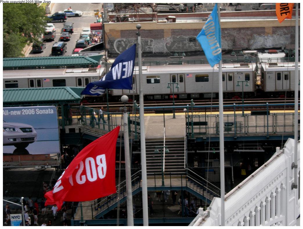 (247k, 1044x788)<br><b>Country:</b> United States<br><b>City:</b> New York<br><b>System:</b> New York City Transit<br><b>Line:</b> IRT Woodlawn Line<br><b>Location:</b> 161st Street/River Avenue (Yankee Stadium) <br><b>Route:</b> 4<br><b>Car:</b> R-142 (Option Order, Bombardier, 2002-2003)  1247 <br><b>Photo by:</b> Mike Jiran<br><b>Date:</b> 8/26/2005<br><b>Notes:</b> View from left field upper deck inside Yankee Stadium.<br><b>Viewed (this week/total):</b> 0 / 5963