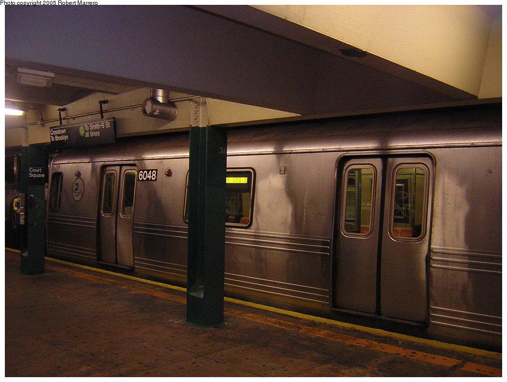 (184k, 1044x788)<br><b>Country:</b> United States<br><b>City:</b> New York<br><b>System:</b> New York City Transit<br><b>Line:</b> IND Crosstown Line<br><b>Location:</b> Court Square <br><b>Route:</b> G<br><b>Car:</b> R-46 (Pullman-Standard, 1974-75) 6048 <br><b>Photo by:</b> Robert Mencher<br><b>Date:</b> 11/29/2005<br><b>Viewed (this week/total):</b> 4 / 3814