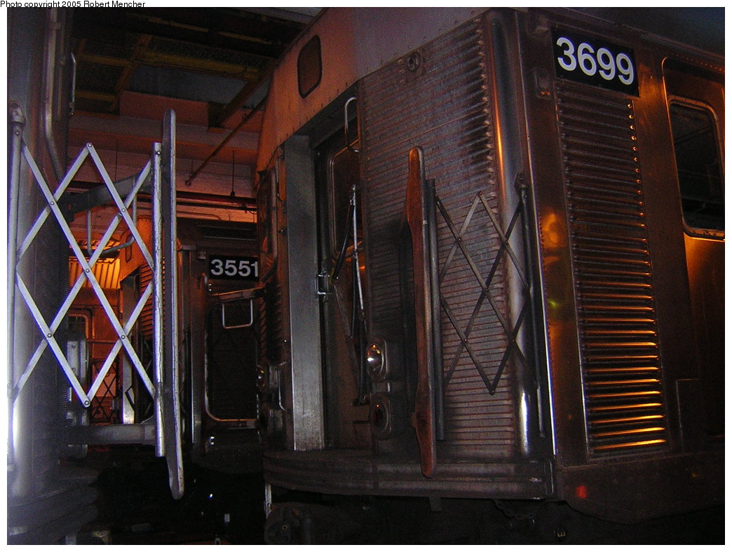 (219k, 1044x788)<br><b>Country:</b> United States<br><b>City:</b> New York<br><b>System:</b> New York City Transit<br><b>Location:</b> Pitkin Yard/Shops<br><b>Car:</b> R-32 (Budd, 1964)  3699/3551 <br><b>Photo by:</b> Robert Mencher<br><b>Date:</b> 12/8/2005<br><b>Viewed (this week/total):</b> 0 / 3332