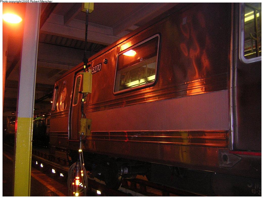 (205k, 1044x788)<br><b>Country:</b> United States<br><b>City:</b> New York<br><b>System:</b> New York City Transit<br><b>Location:</b> Pitkin Yard/Shops<br><b>Car:</b> R-44 (St. Louis, 1971-73) 5270 <br><b>Photo by:</b> Robert Mencher<br><b>Date:</b> 12/8/2005<br><b>Viewed (this week/total):</b> 1 / 2528