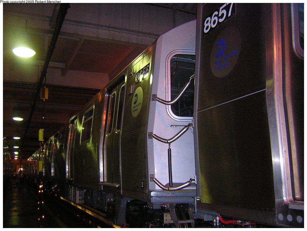 (202k, 1044x788)<br><b>Country:</b> United States<br><b>City:</b> New York<br><b>System:</b> New York City Transit<br><b>Location:</b> Pitkin Yard/Shops<br><b>Car:</b> R-160A-2 (Alstom, 2005-2008, 5 car sets)  8656 <br><b>Photo by:</b> Robert Mencher<br><b>Date:</b> 12/8/2005<br><b>Viewed (this week/total):</b> 1 / 3564
