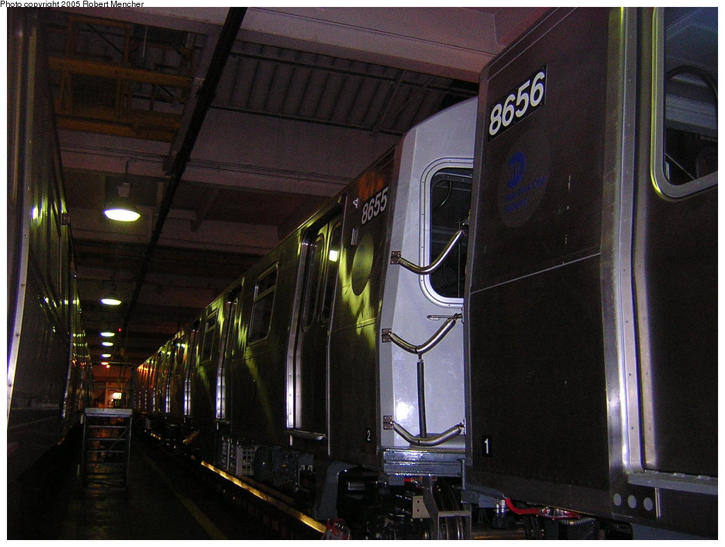 (198k, 1044x788)<br><b>Country:</b> United States<br><b>City:</b> New York<br><b>System:</b> New York City Transit<br><b>Location:</b> Pitkin Yard/Shops<br><b>Car:</b> R-160A-2 (Alstom, 2005-2008, 5 car sets)  8655 <br><b>Photo by:</b> Robert Mencher<br><b>Date:</b> 12/8/2005<br><b>Viewed (this week/total):</b> 0 / 2949