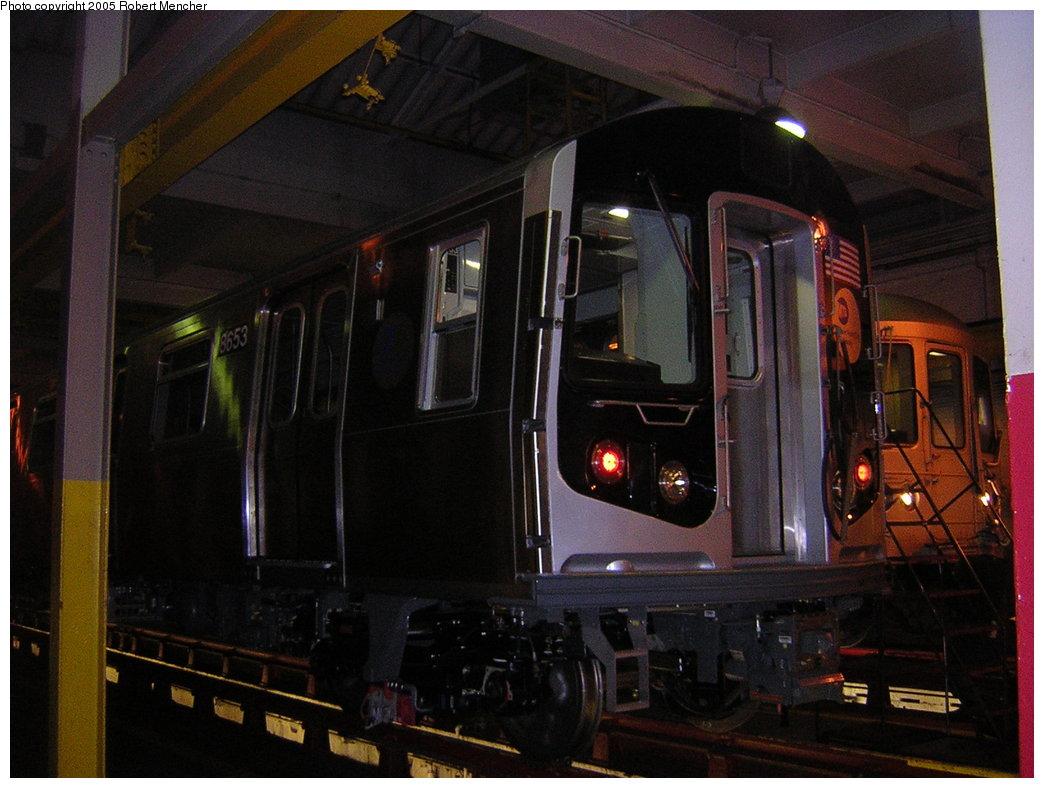 (188k, 1044x788)<br><b>Country:</b> United States<br><b>City:</b> New York<br><b>System:</b> New York City Transit<br><b>Location:</b> Pitkin Yard/Shops<br><b>Car:</b> R-160A-2 (Alstom, 2005-2008, 5 car sets)  8653 <br><b>Photo by:</b> Robert Mencher<br><b>Date:</b> 12/8/2005<br><b>Viewed (this week/total):</b> 1 / 4035