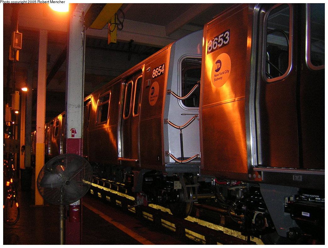 (211k, 1044x788)<br><b>Country:</b> United States<br><b>City:</b> New York<br><b>System:</b> New York City Transit<br><b>Location:</b> Pitkin Yard/Shops<br><b>Car:</b> R-160A-2 (Alstom, 2005-2008, 5 car sets)  8654 <br><b>Photo by:</b> Robert Mencher<br><b>Date:</b> 12/8/2005<br><b>Viewed (this week/total):</b> 0 / 2836