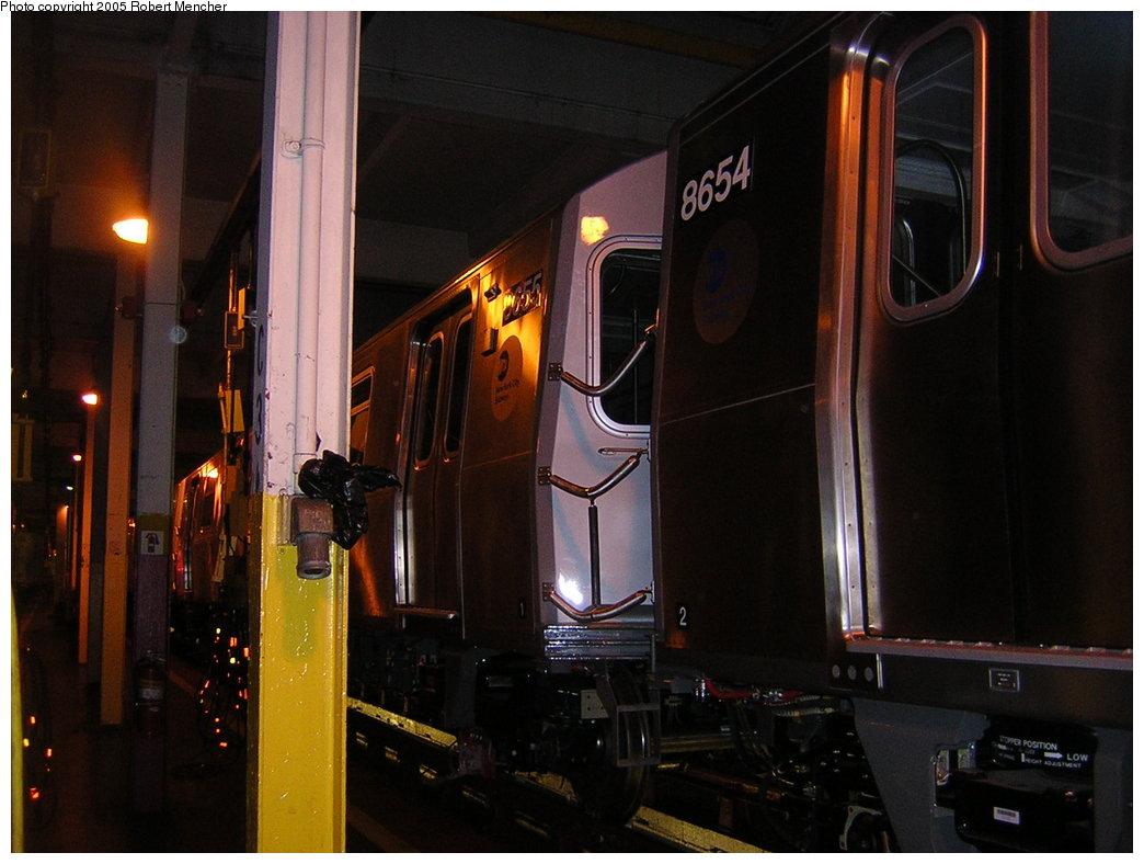 (176k, 1044x788)<br><b>Country:</b> United States<br><b>City:</b> New York<br><b>System:</b> New York City Transit<br><b>Location:</b> Pitkin Yard/Shops<br><b>Car:</b> R-160A-2 (Alstom, 2005-2008, 5 car sets)  8655 <br><b>Photo by:</b> Robert Mencher<br><b>Date:</b> 12/8/2005<br><b>Viewed (this week/total):</b> 0 / 2307