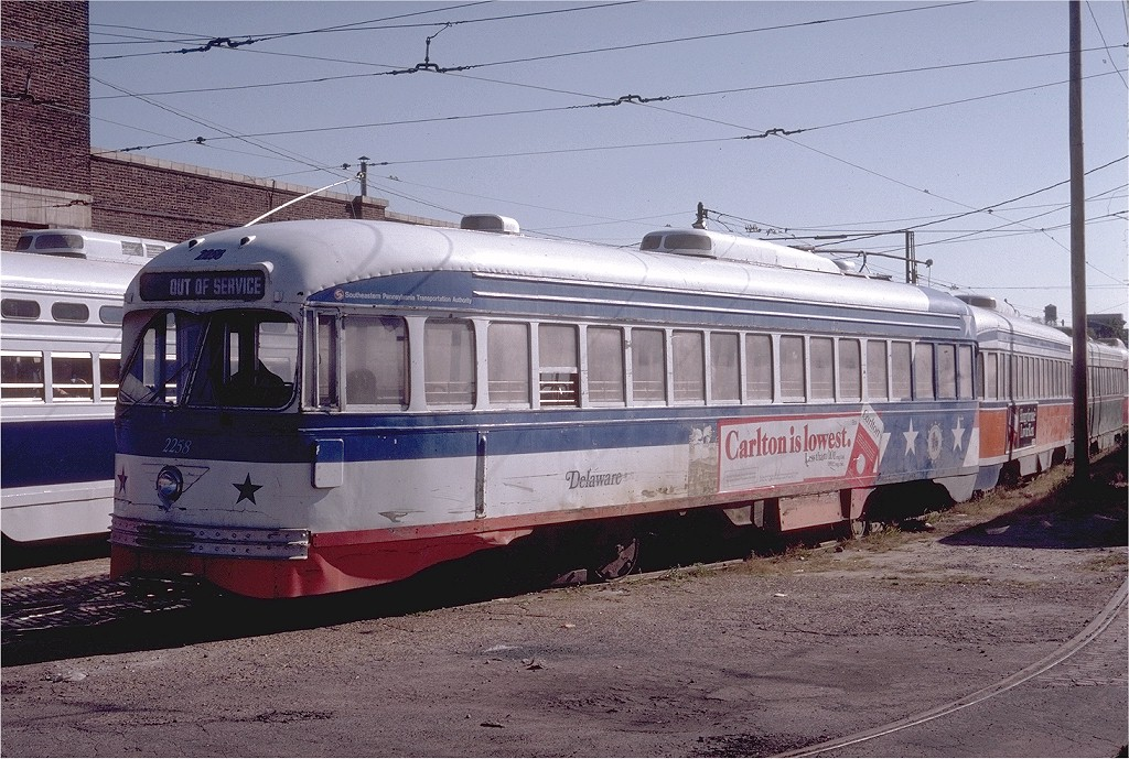 (237k, 1024x689)<br><b>Country:</b> United States<br><b>City:</b> Philadelphia, PA<br><b>System:</b> SEPTA (or Predecessor)<br><b>Location:</b> Luzerne Depot <br><b>Car:</b> PTC/SEPTA ex-Kansas City PCC (St.Louis, 1946)  2258 <br><b>Photo by:</b> Steve Zabel<br><b>Collection of:</b> Joe Testagrose<br><b>Date:</b> 10/12/1980<br><b>Viewed (this week/total):</b> 0 / 1287