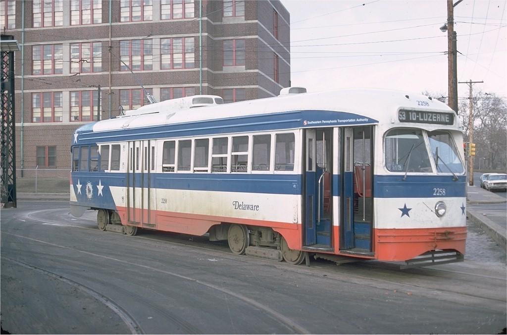 (179k, 1024x676)<br><b>Country:</b> United States<br><b>City:</b> Philadelphia, PA<br><b>System:</b> SEPTA (or Predecessor)<br><b>Line:</b> Rt. 53-Wayne Ave. <br><b>Location:</b> 10th/Luzerne <br><b>Route:</b> Rt 53<br><b>Car:</b> PTC/SEPTA ex-Kansas City PCC (St.Louis, 1946)  2258 <br><b>Photo by:</b> Joe Testagrose<br><b>Date:</b> 3/5/1977<br><b>Viewed (this week/total):</b> 0 / 1555