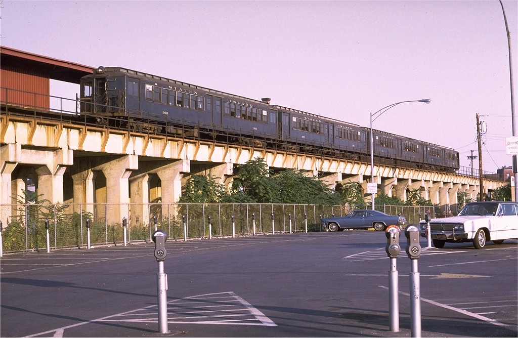 (207k, 1024x668)<br><b>Country:</b> United States<br><b>City:</b> New York<br><b>System:</b> New York City Transit<br><b>Line:</b> SIRT<br><b>Location:</b> Stapleton <br><b>Car:</b> SIRT ME-1 (Motor conv. from trailer)  393 <br><b>Photo by:</b> Doug Grotjahn<br><b>Collection of:</b> Joe Testagrose<br><b>Date:</b> 7/7/1970<br><b>Viewed (this week/total):</b> 3 / 5162